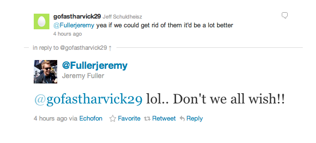 Homophobic tweets from @jeremyfuller and @gofastharvick29