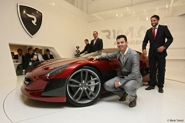 Mate Rimac with his Concept One electric supercar from Rimac Automobili
