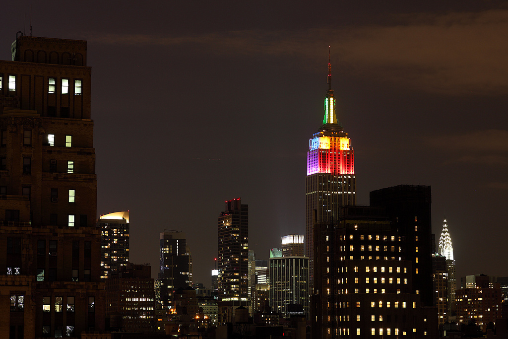Empire State Building, lit for Gay Pride (pic by Flickr user ccho)