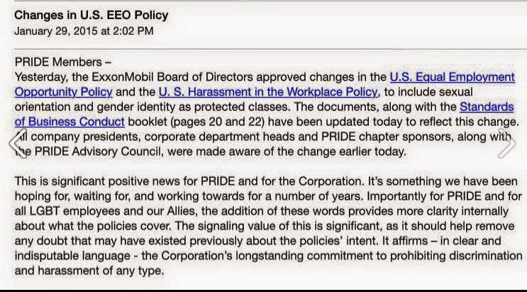 Screencap of internal memo posted to ExxonMobil's LGBT employee group (via Joe.My.God)