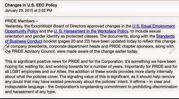 Screencap of internal memo posted to ExxonMobil's LGBT employee group (via Joe.My.God)