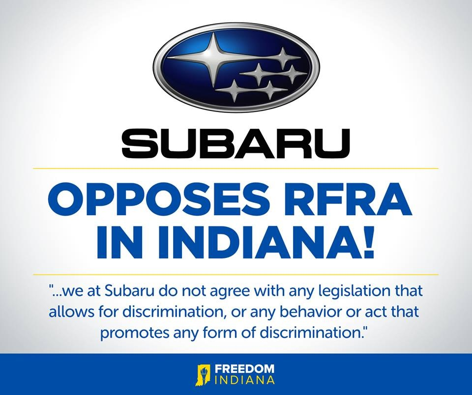 Subaru opposes RFRA in Indiana
